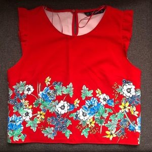ZARA Red Floral Sleeveless top and pant set